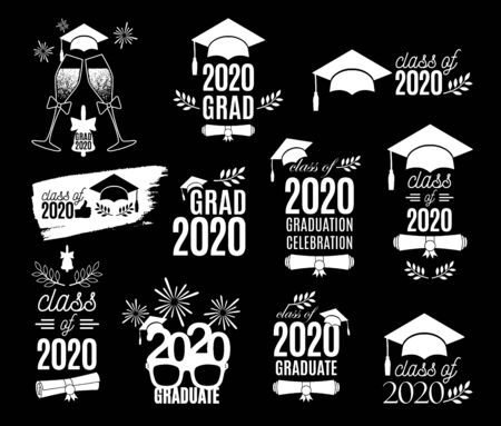 Graduation class of 2020 labels design set. Concept for shirt, print, seal, overlay, stamp, greeting card, invitation. Vector sign or logo. All isolated and layered