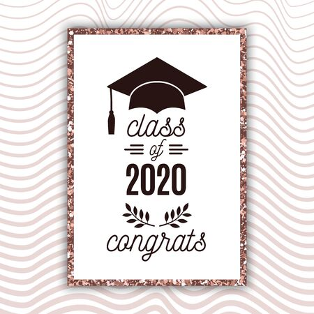 Class of 2020 graduate poster with hat, laurels on blush rose waves background for invitation, banner, greeting card, postcard. Vector graduate template. All isolated and layered