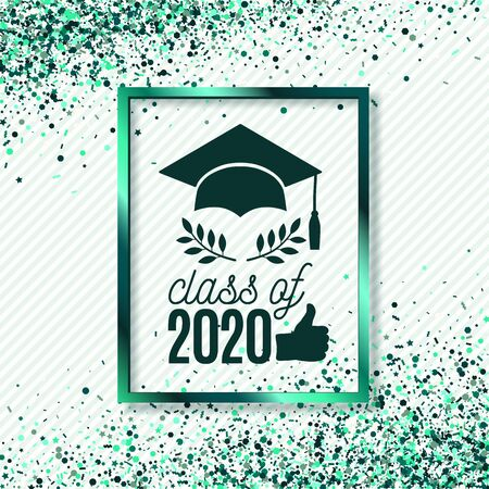Class of 2020 greeting card with hat, thumb up hand, laurels on stripe background with emerald foil frame for invitation, banner, poster, postcard. Vector graduate template. All isolated and layered