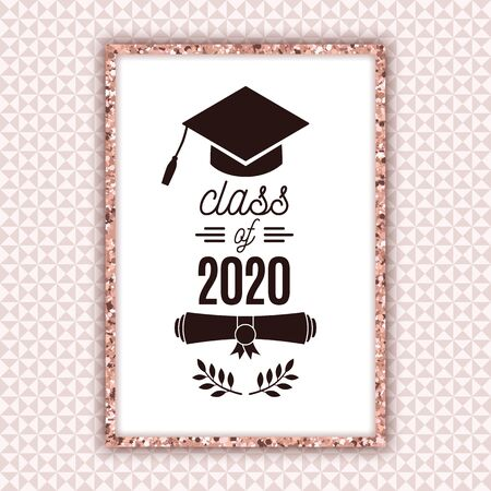 Class of 2020 graduate poster with hat, scroll, laurels on pale pink seamless triangle background for invitation, banner, greeting card, postcard. Vector graduate template. All isolated and layered