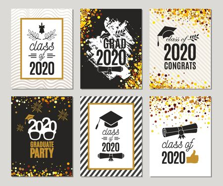 Graduation Class of 2020 greeting cards set of six templates in gold colors. Vector party invitations. Grad banners. All isolated and layered