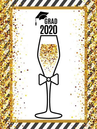 Grad 2020 class of with glass of champagne and tie, hat on striped background and scattered gold confetti for greeting card, invitation, banner, poster, postcard. All isolated and layered