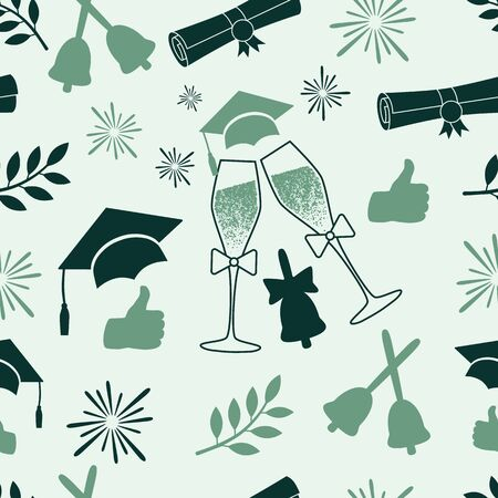 Seamless graduation pattern. Class of background. Vector illustration with graduate attributes in emerald colors