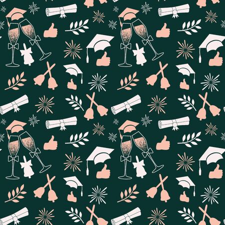 Seamless graduation pattern in emerald colors. Class of background. Vector illustration with graduate attributes Иллюстрация