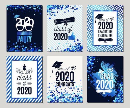 Graduation Class of 2020 blue glitter greeting cards set of six. Vector party invitations. Grad posters. All isolated and layered Иллюстрация
