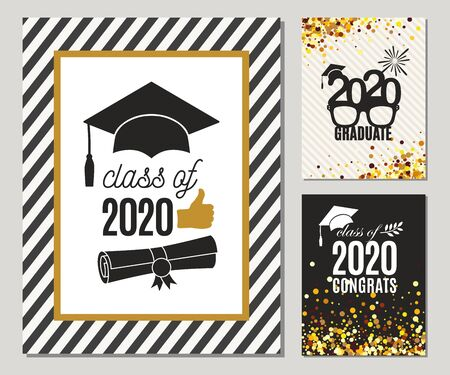 Graduation Class of 2020 three greeting cards set in gold colors. Vector grad party invitations. Grad posters. All isolated and layered Иллюстрация
