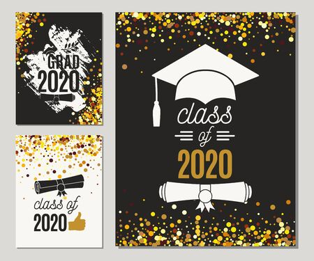 Graduation Class of 2020 three greeting cards set with golden glitter. Vector graduate party invitations. Grad posters. All isolated and layered