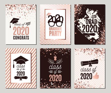 Graduation Class of 2020 rose gold greeting cards set. Six vector party invitations. Grad posters. All isolated and layered