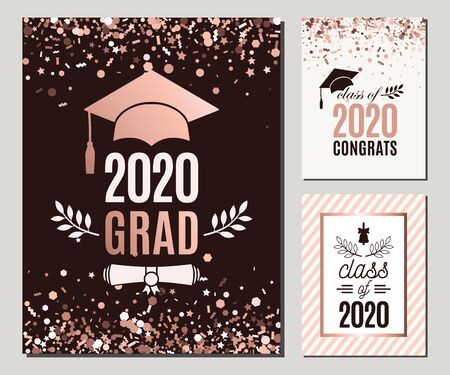 Graduation Class of 2020 greeting cards set in rose gold confetti colors. Three vector grad party invitations. Grad posters. All isolated and layered 向量圖像