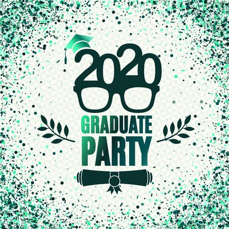 Graduate 2020 class of greeting card with glasses, hat, scroll, laurels in emerald colors. Vector illustration for invitation, banner, poster, postcard. All isolated and layered 向量圖像