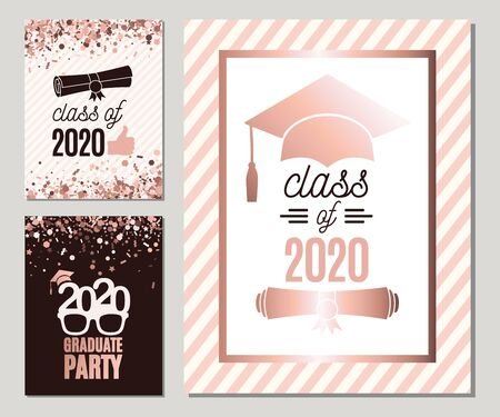 Graduate 2020 greeting cards set in rose gold colors. Three vector grad party invitations. Class of Grad posters. All isolated and layered
