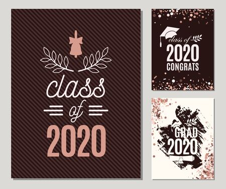 Graduation 2020 greeting cards set in rose gold colors. Three vector grad party invitations. Class of grad posters. All isolated and layered