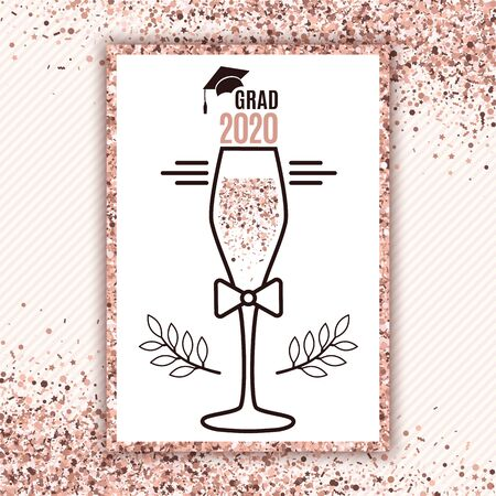 Grad 2020 class of with glass of champagne, hat, bow on striped background and scattered confetti in rose gold colors for greeting card, invitation, banner, poster, postcard. All isolated and layered