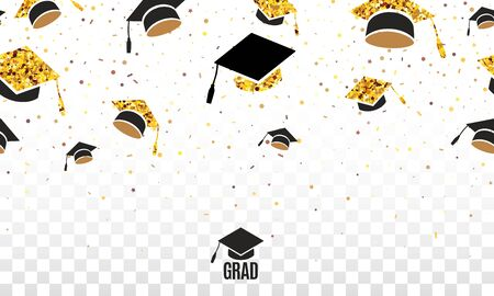 Grad class of 2020 border with golden hats thrown up on the air on checkered transparent background. Festive vector illustration with confetti. Seamless border on horizontal