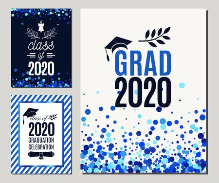 Grad 2020 greeting cards set in blue colors. Three vector graduate party invitations. All isolated and layered