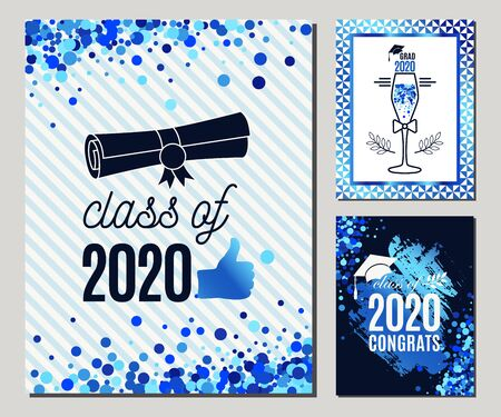 Graduate 2020 greeting cards set in blue colors. Three vector grad party invitations. Class of Grad posters. All isolated and layered 向量圖像