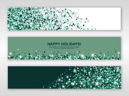 Happy holidays green emerald banners set of three sheets with sparkle confetti. Vector illustration. All isolated and layered Vettoriali