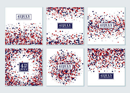 4th of July background set. Independence Day concept design kit in traditional American colors - red, white, blue. 矢量图像