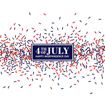 4th of July greeting card. Independence Day conception in traditional American colors - red, white, blue. Illustration
