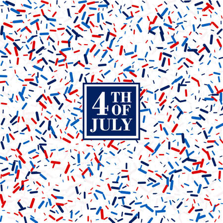 4th of July background in traditional American colors - red, white, blue. Scattered lollipops backdrops 스톡 콘텐츠 - 150646255