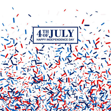 4th of July poster in traditional American colors - red, white, blue. Scattered lollipops background 스톡 콘텐츠 - 150647241