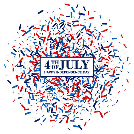 4th of July banner in traditional American colors - red, white, blue. Scattered lollipops backdrop