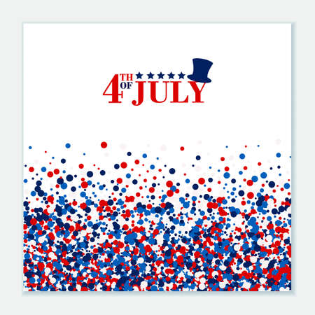 4th of July festive greeting card with top hat, stars. American Happy Independence Day design concept with scatter circles in traditional American colors - red, white, blue. Isolated.