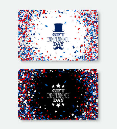 USA Independence Day Gift Card vector template with scattered papers in national American colors - red, white, blue. All objects isolated.