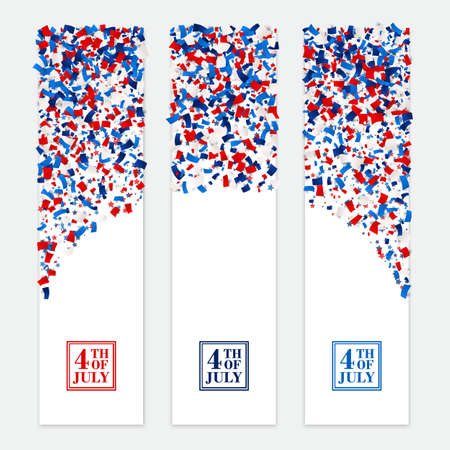 4th July festive vertical banner set with scattered papers. USA Independence Day design kit in traditional American colors - red, white, blue.