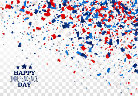 USA Happy Independence Day design concept with scatter papers, stars in traditional American colors - red, white, blue. Isolated. 向量圖像