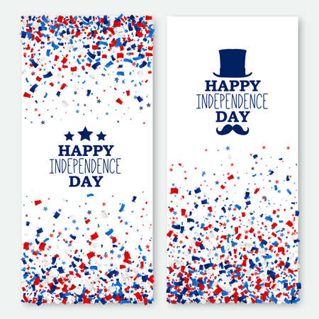 American Happy Independence Day banners set. 4th July festive greeting cards with scattered papers. Independence Day design kit in traditional American colors - red, white, blue.