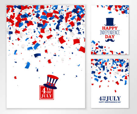 American Happy Independence Day banners set. 4th July festive greeting cards with scattered papers, top hat, mustache, star in traditional American colors - red, white, blue. All isolated and layered Çizim