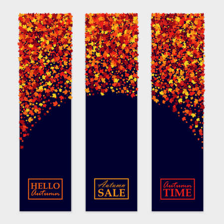 Vector fall banners set with scattered maple leaves for different design projects. Isolated