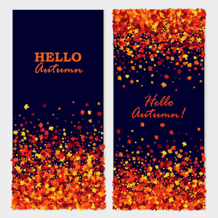 Hello Autumn banners with maple leaves. Isolated