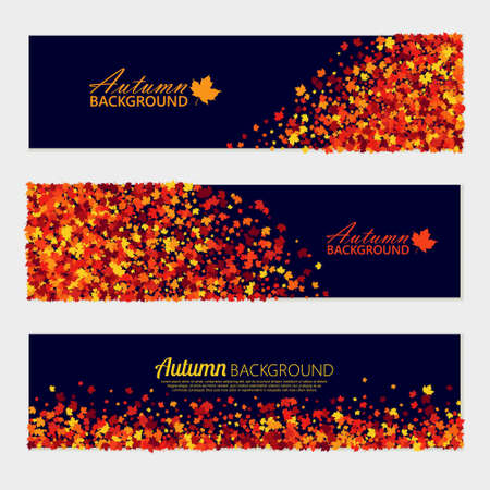 Vector horizontal autumn banners set with scattered maple leaves for different design projects. Isolated 向量圖像