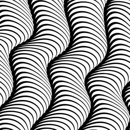 Abstract isolated black and white waved stripes vector background. 3d waves optical illusion effect