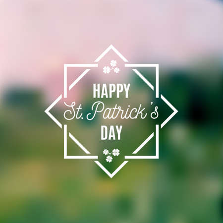 Happy Saint Patrick's Day design poster with square frame isolated on blur background. Vector illustration