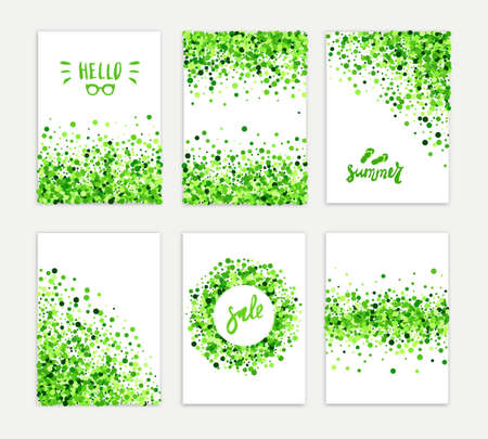Summer sale vector creative six greeting card set of green round particles. Scattered confetti circles. All isolated and layered Vecteurs