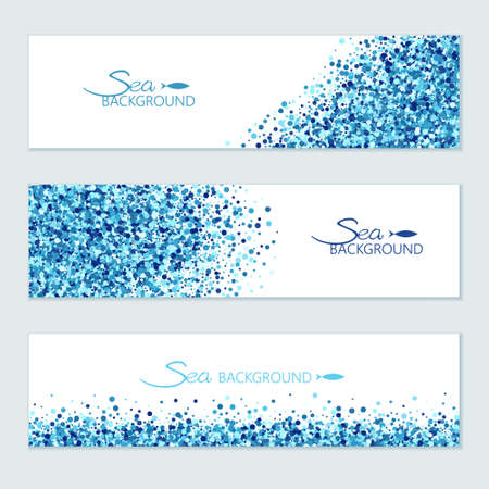 Vector horizontal sea banners set of scatter blue circles for different design. Vetores