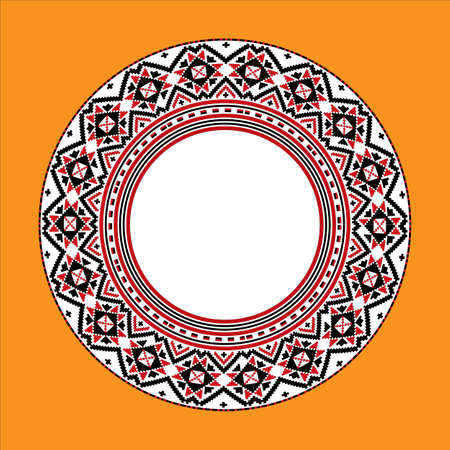 Vector drawing - a plate with a circular ornament in the style of vintage embroidery on an orange background Çizim