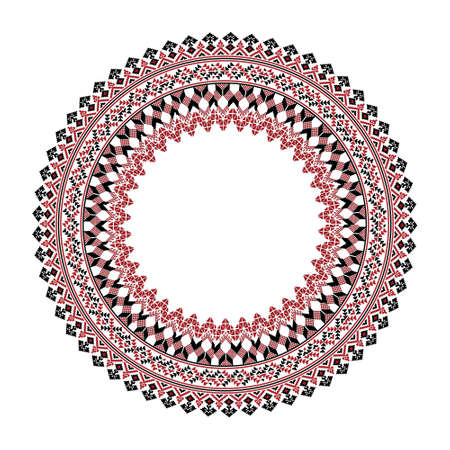 Vector drawing - round frame with ethnic Slavic pattern in red, black and white colors on a white isolated background. It can be used, for example, as a decoration for a plate or as a frame for a phot