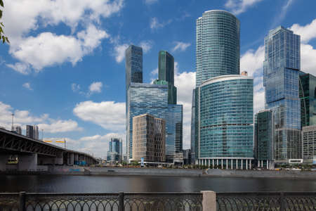 """View of the Moscow International Business Center """"Moscow City"""" from the embankment of the Moscow River"""