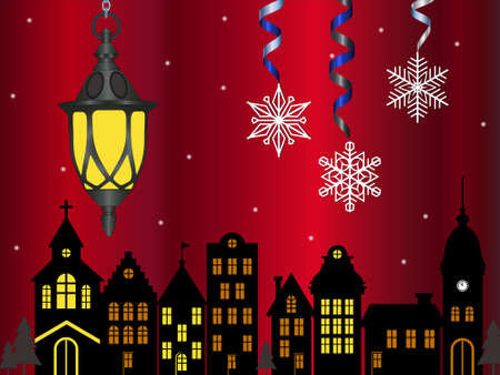 Vector Christmas card - three white snowflakes hanging on a colored serpentine. An old street lamp is suspended next to a chain. In the background are the outlines of an old town. Ilustração