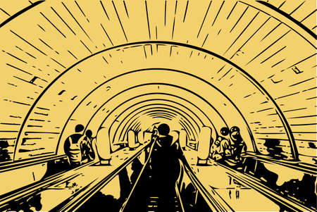 Vector drawing in noir style - passengers descend on the escalator in the subway