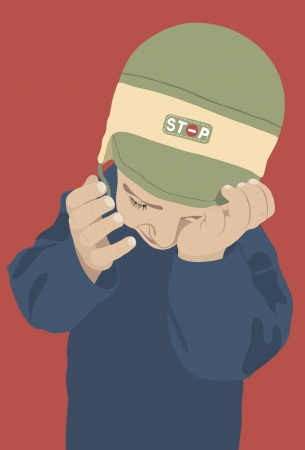 Crying kid on a red background Ilustrace