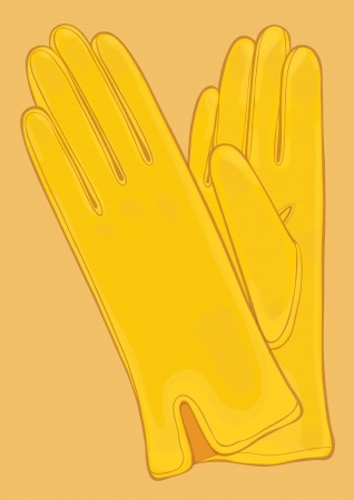 signboard form: Vector illustration of yellow gloves Illustration