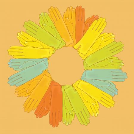 signboard form: Vector illustration of colored gloves