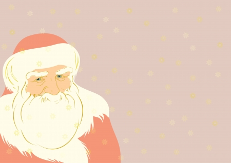 one year old: Father Christmas illustration with golden snowflakes on background