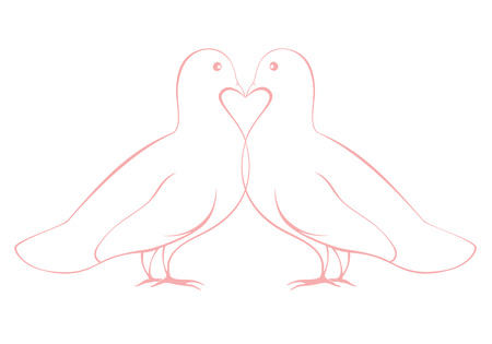 white kissing doves pair, symbol of peace and love Vector