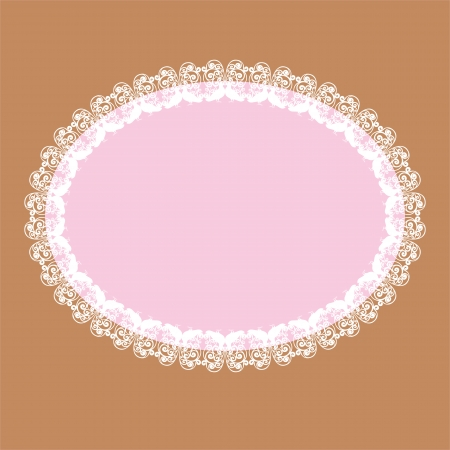 oval lace-like frame with kissing doves ornament, vector background Vector